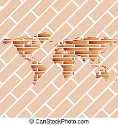 bricks world map, abstract art illustration