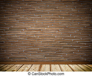 Brickwall and wooden floor background.