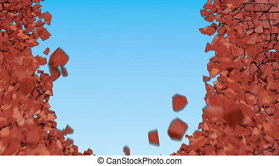 Red brickwall destruction or explosion with visible blast wave