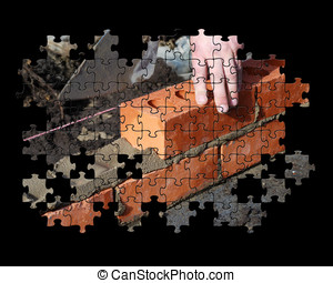 Brickwork jigsaw puzzle - Partial jigsaw puzzle showing...