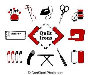 bricolage, édredon, patchwork, couture, icônes