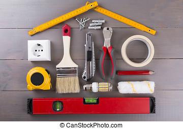 bricolage, costruzione, attrezzi, su, legno, fondo