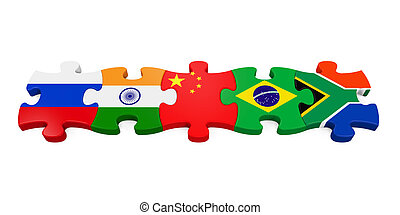 BRICS Concept Illustration isolated on white background. 3D...