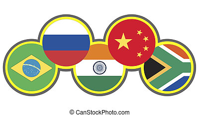 Symbol of the association of emerging national economies, Brazil, Russia, India, China, South Africa