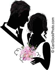 bridal, シルエット, 恋人