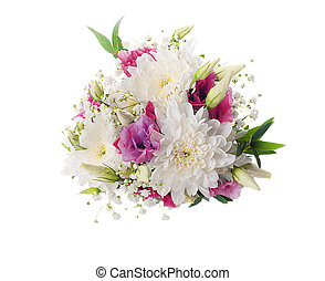 Bridal bouquet from white and pink flowers