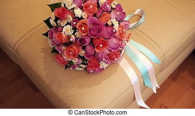 Bridal bouquet in an interior room.Wedding bouquet in a vase on the floor.Wedding interior