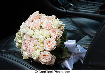 bridal bouquet in the car
