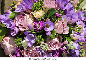 Bridal bouquet in various shades of purple