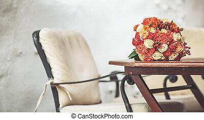 bridal bouquet, közül, különféle, flowers.