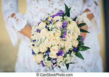 bridal bouquet, noha, blue virág, és, white rózsa