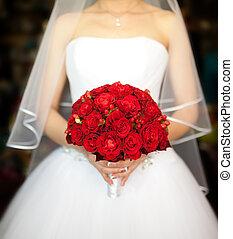 bridal bouquet, noha, piros rózsa
