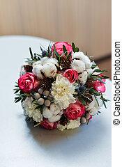 bridal bouquet, noha, piros virág
