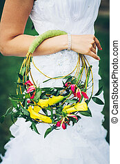bridal bouquet, noha, sárga, liliomok