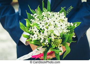 bridal bouquet, noha, white virág