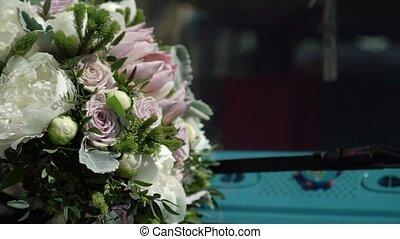 Bridal bouquet on a hood of blue retro bus - Bridal bouquet ...