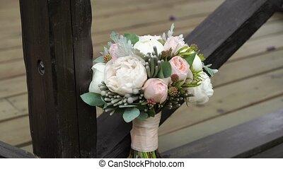 Bridal bouquet otdoors - Bridal bouquet with peonies otdoors