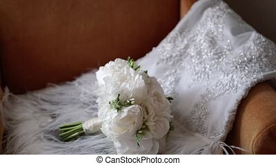 Bridal bouquet with peonies and wedding dress - Bridal...