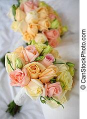 Bridal bouquet with roses arrangement