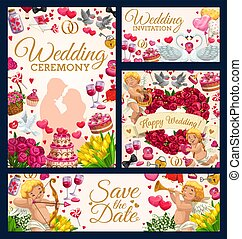 Bridal ceremony. Save the date, wedding day symbol
