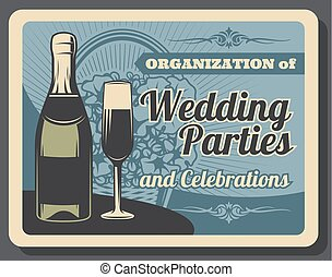 Bridal ceremony, wedding party and banquet