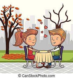 bridal couple having dinner on the street