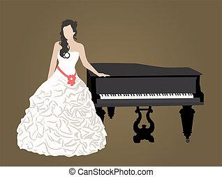 bridal dress and black grand piano