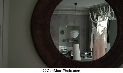 Bridal dress indoors mirror view