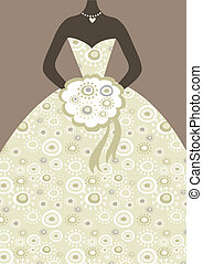 Bridal dress with floral pattern