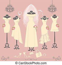 Bridal dresses on mannequin.Fashion background