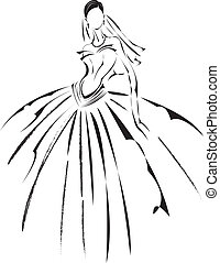 Bridal fashion. - Bridal fashion design sketching.