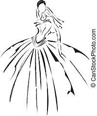 Bridal fashion design sketching.