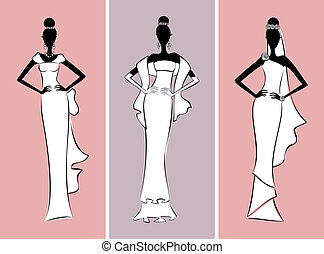 Bridal Fashion - Illustration of three fashion models...