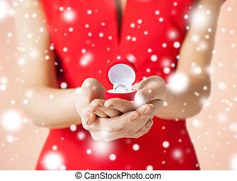 woman showing wedding ring
