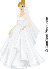 Bridal Gown - Illustration of a Bride Posing in Her Bridal...