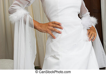 Bridal gown - Bride with hands on hips