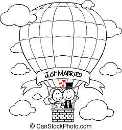 bridal, paar, op, verhite lucht ballon