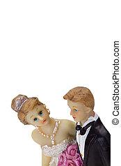 Bridal pair isolated on white background