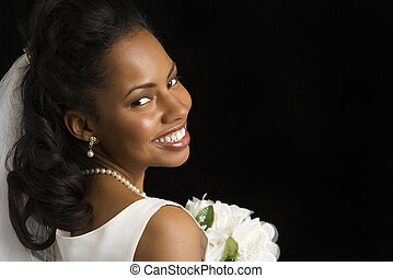 Bridal portrait. - Portrait of a mid-adult African-American...