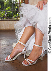 Bridal sandals - White sandals worn by bride
