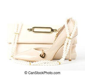 bridal shoe, bag and beads