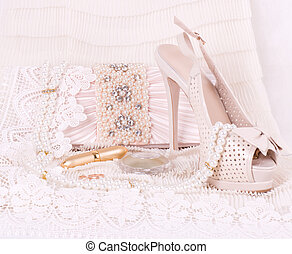 bridal shoes, bag and beads