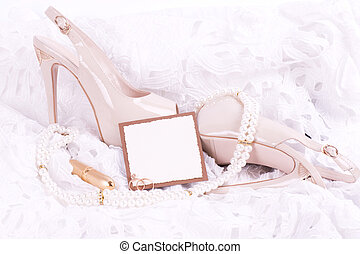 bridal shoes, lace and wedding ring