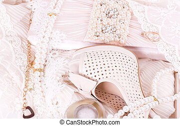 bridal shoes, lace, bag and beads