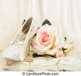 bridal shoes, pink rose