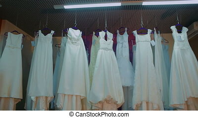 Bridal shop with White Dresses in Assortment