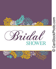 Bridal shower card with floral decoration.