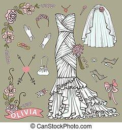 Bridal shower Dress,accessories set.Floral Decor element