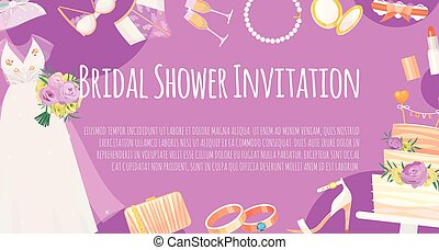 Bridal shower invitation banner vector illustration. Save the date. Wedding accessories such as flower bouquet, dress, glasses with champagne, cake, underwear, shoes, necklace.
