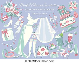 Bridal shower invitation banner vector illustration. Wedding accessories such as flower bouquet, dress, glasses with champagne, cake, shoes, engagement rings, gloves, necklace.